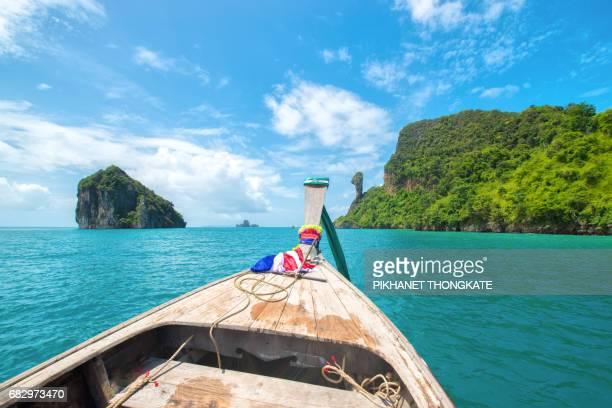 boat go to Chicken island in the Andaman sea,Krabi,Thailand