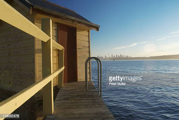 Boat house and sea