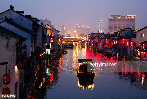 Boat in ancient canal,Wuxi,Jiangsu,China