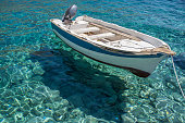 Boat in clear water, Loutro, Crete