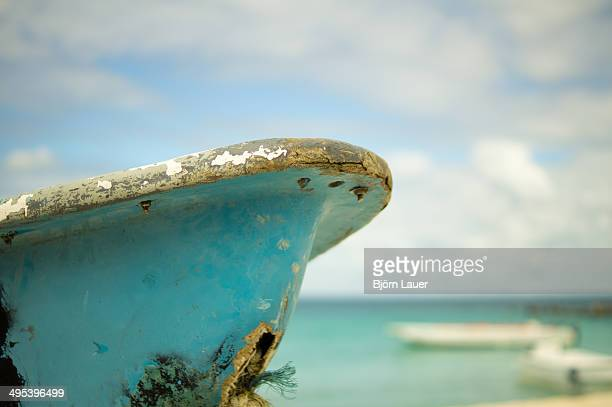 A boat in front of a beach of Saona Island
