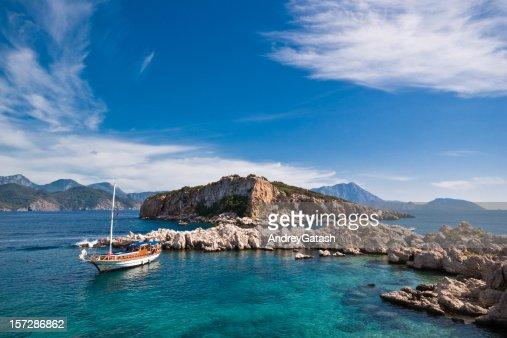 Boat in sea lagoon, Turkey