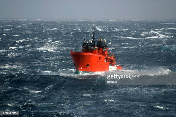 boat in storm at sea