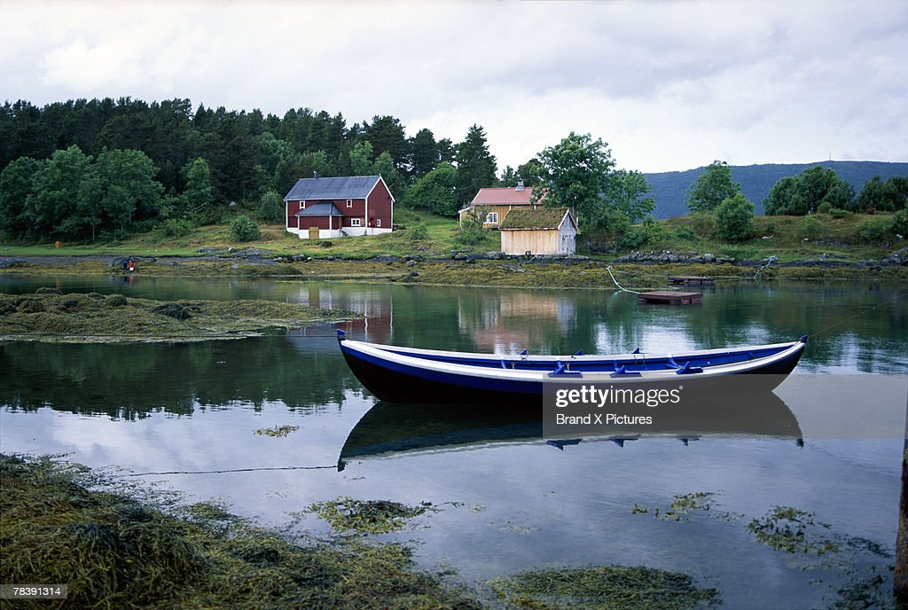 Boat in water, Hjertoya Island, Molde, Norway : Stock Photo