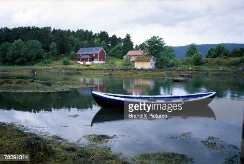 Boat in water, Hjertoya Island, Molde, Norway : Stock Photo