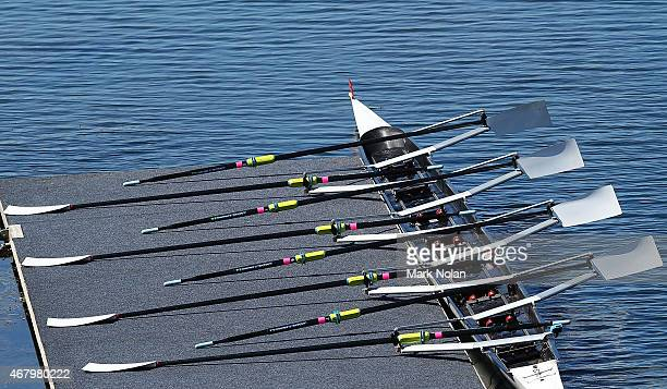 A boat is pictured on the medal pontoon during the Sydney International Rowing Regatta on March 29 2015 in Penrith Australia