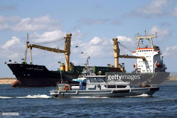 A boat is seen docked at the Benghazi port which was closed for the past three years due to rebel groups occupying the eastern Libyan city during a...
