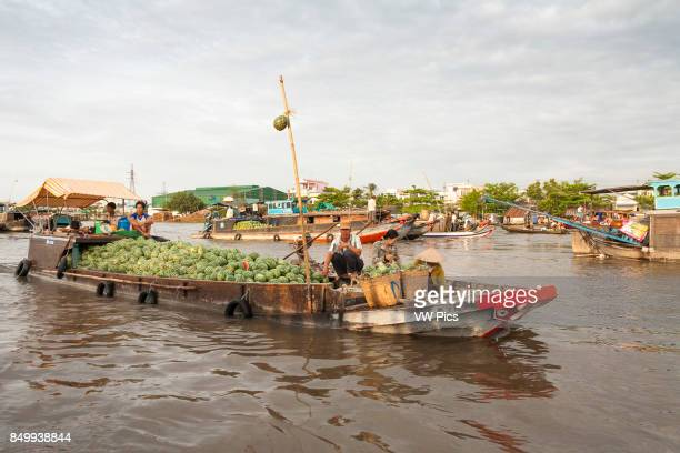 Boat laden with watermelons in the floating market Cai Rang near Can Tho Mekong River Delta Vietnam