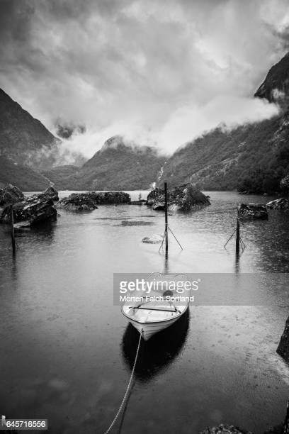 Boat, lake and mountain