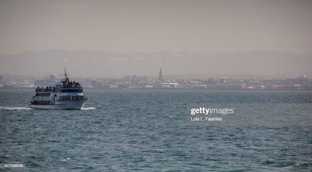 Boat leaving Reykjavik : Foto de stock