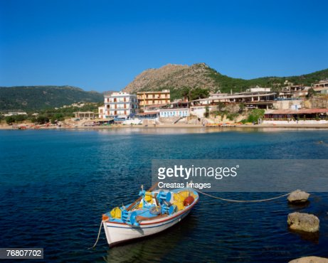 Boat off coast of Agia Maria, Agina Island, Greece : Stock Photo
