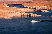 A motor boat on the waters of Lake Powell.