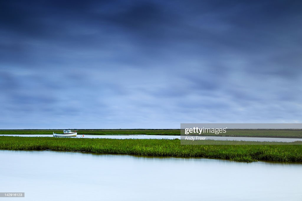 Boat on marshes : Stock Photo