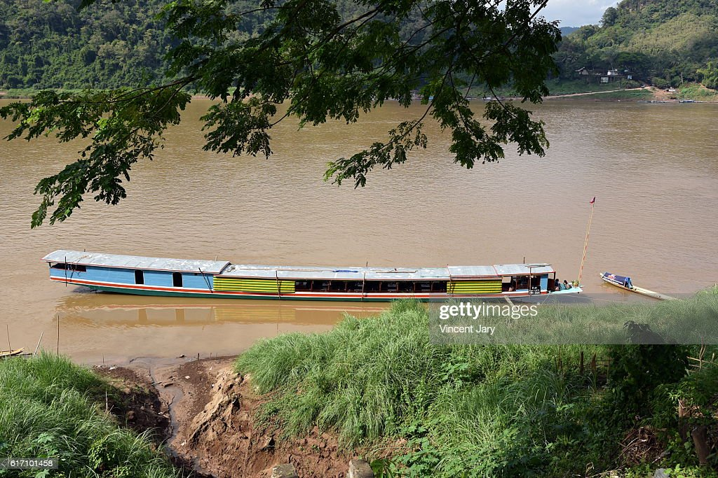 boat on mekong river laos : Stock Photo