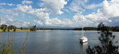 Boat on river, Moruya, New South Wales, Australia
