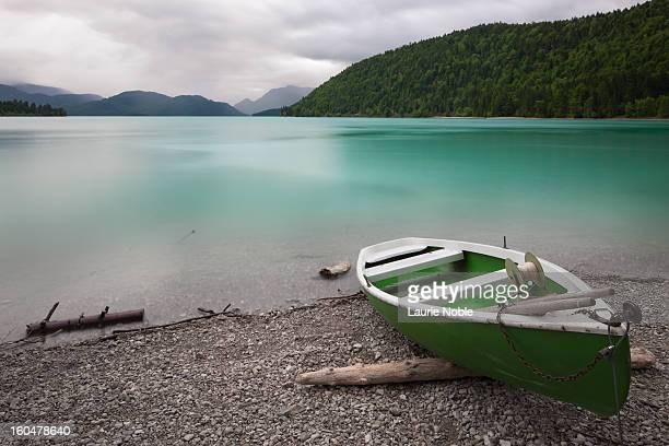 Boat on shores of Walchensee, Bavaria, Germany