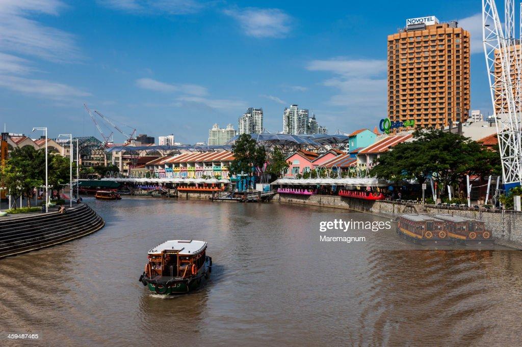 Boat on Singapore river near Clarke Quay