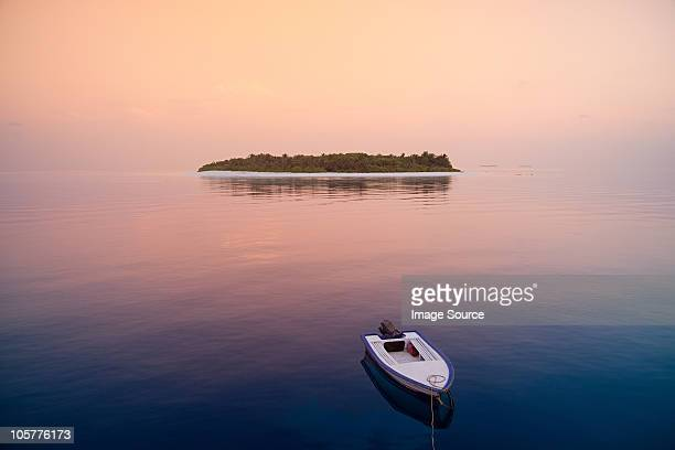 Boat on the sea, Havodigalaa Island, South Huvadhu Atoll, Maldives