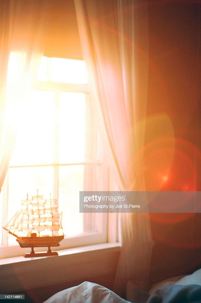 Boat on window sill