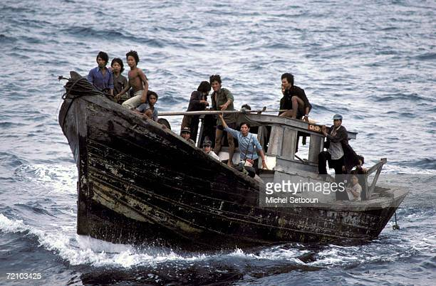 Boat people leaving the VietNam in South China Sea are rescued by Medecins du Monde Doctors Of The World onboard the Goelo boat