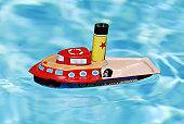 jouet enfant, bateau, bleu, eau