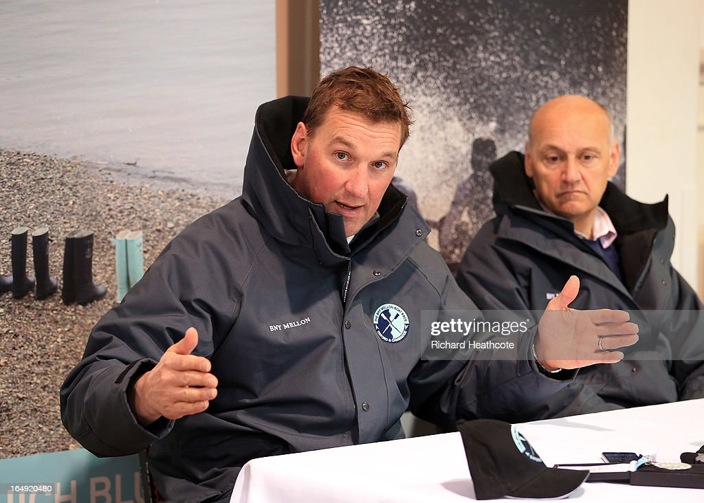 Boat Race umpire Sir <a gi-track='captionPersonalityLinkClicked' href=/galleries/search?phrase=Matthew+Pinsent&family=editorial&specificpeople=182535 ng-click='$event.stopPropagation()'>Matthew Pinsent</a> talks to the media during a press conference for the BNY Melon University Boat Race on The River Thames on March 29, 2013 in London, England. The 159th University Boat Race will take place on Sunday 31st March 2013 from Putney to Mortlake.