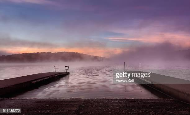 Boat Ramp Sunrise With Fog