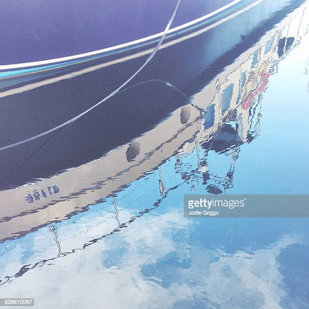 Boat reflection on the water