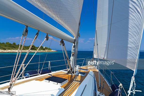 Boat sailing during the summer