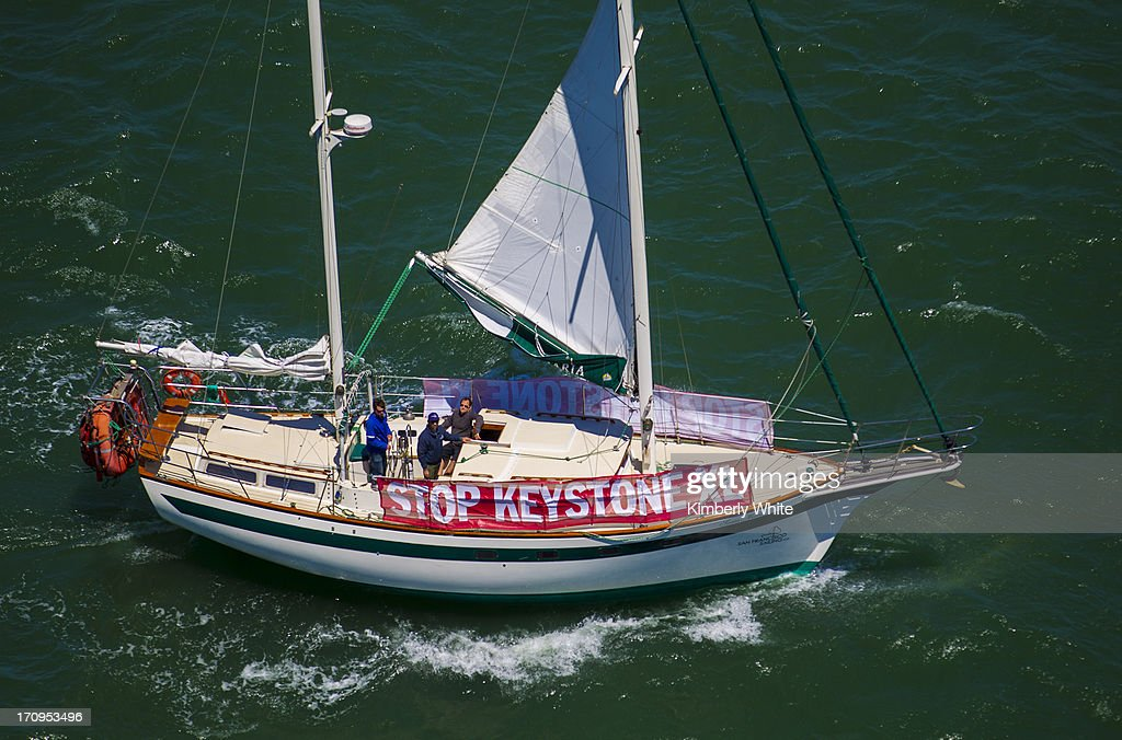 A boat sails in the bay while sporting a banner against the Keystone XL pipeline on June 20, 2013 in San Francisco, California. More than a thousand nurses and environmental activists protested against the pipeline construction and called on the Obama administration to reject the proposal.
