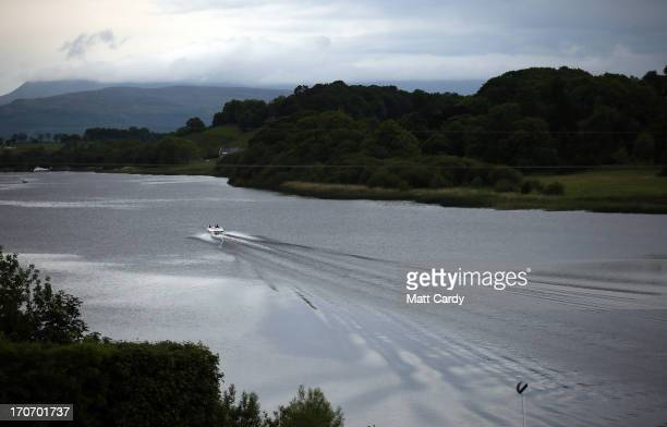 A boat sails in water close to the Kellyhevlin Hotel which is being used as the G8 media centre close to the G8 venue of Lough Erne on June 16 2013...