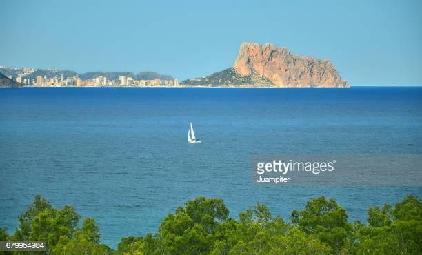 Boat salinig in mediterranean sea