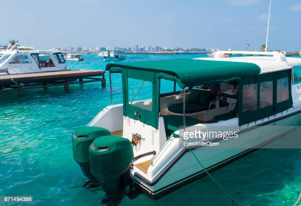 Boat Taxis and Water Taxis at the Jetty of Malé International Airport on February 23 2017 in Male Maldives