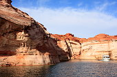 A view from a boat tour in Lake Powell, Glen Canyon national recreation area, Utah