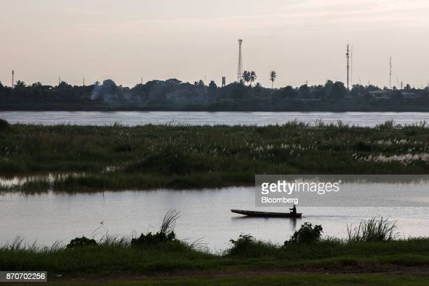 A boat travels along the Mekong river in Vientiane Laos on Thursday Nov 2 2017 Located in the Mekong region Southeast Asia's frontier nations are...