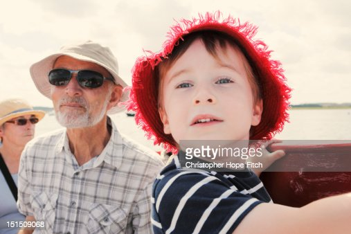 Boat trip with grandparents : Stock Photo