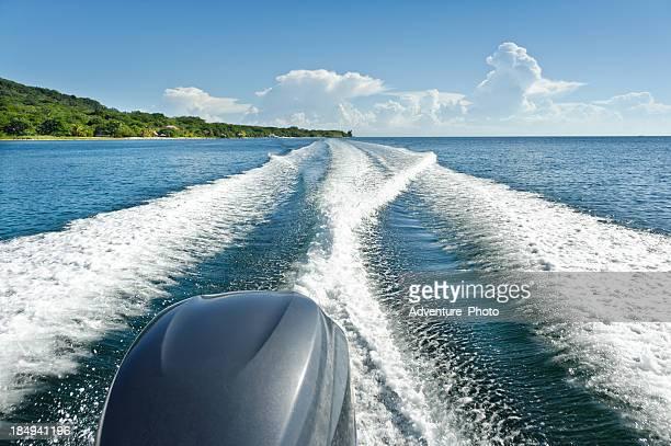 Boat Wake on Blue Caribbean