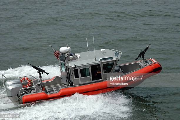 Boat with guns from the US Coast Guard