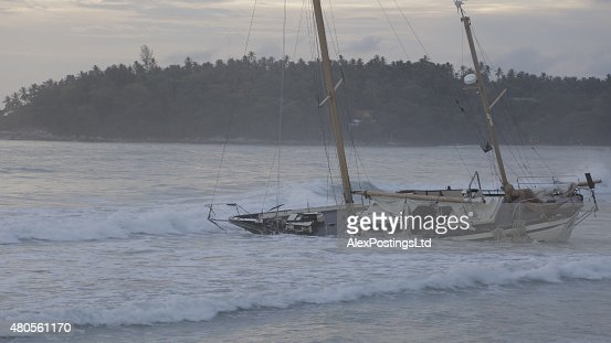 Boat Wreck on Karon Beach : Stock Photo