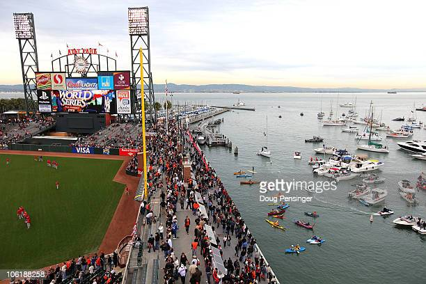 Boaters and fans congregate in McCovey Cove outside of ATT Park prior to Game One of the 2010 MLB World Series between the Texas Rangers and the San...