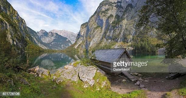Boathouse on Obersee near Königssee in Nationalpark Berchtesgaden