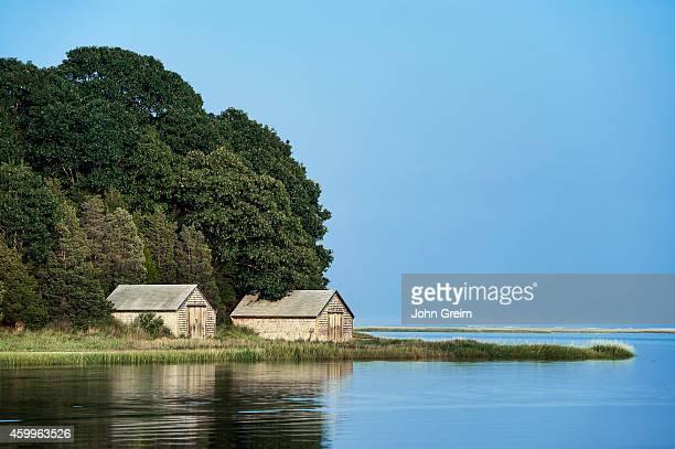 Boathouse on salt pond Nauset Marsh