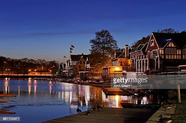 Boathouse Row and the Schuylkill River at night