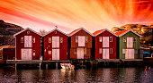 Boathouses panorama