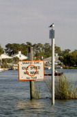 Boating No Wake Zone To Protect Manatees In Canal At Crystal River Florida
