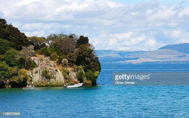 Boating on Lake Taupo.