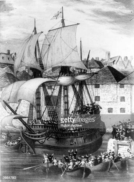 Boatloads of people waving farewell to the Mayflower as she leaves Plymouth for America 6th September 1620 Original Artwork After Gustave Alaux