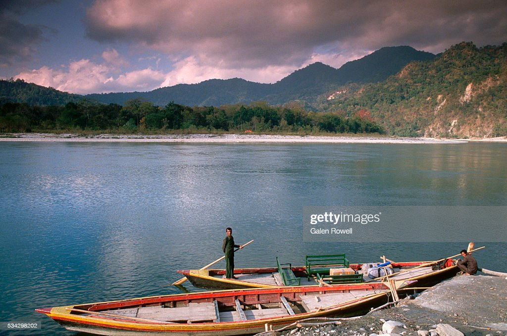 Boatmen on Manas River, Bhutan
