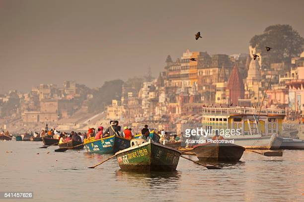 Boats along Ganges river