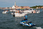 Boats and party goers gather in St Mark's Basin and Giudecca Canal on the day of the Redentore Celebration on July 16 2016 in Venice Italy Redentore...
